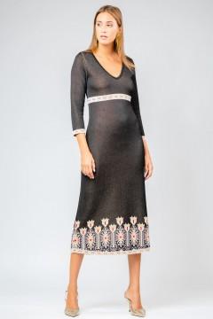 Rochie cu lalele lunga neagra