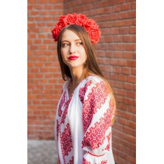 Rochie Gorjenească cu model roșu