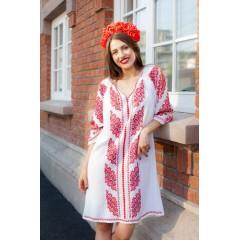 Rochie Gorjenească cu model roșu de la www.florideie.ro