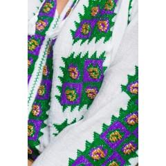 Ie Românească Tradițională Floare de Păun - Verde cu mov