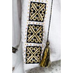 Ie românească cu fir metalic auriu - Flori de dragoste