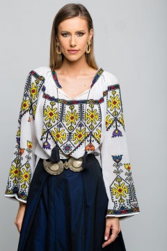 Spring tulip romanian blouse - Yellow