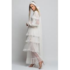 Rochie de mireasă din mătase naturală, cu ornamente cusute manual