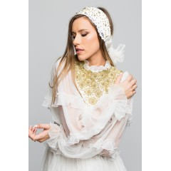 Natural silk wedding dress with hand-sewn ornaments