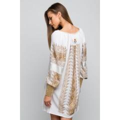 Rochie tradițională Zalina cusută față-spate - Bej