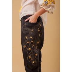 Pantaloni Pictați Flori De Păun