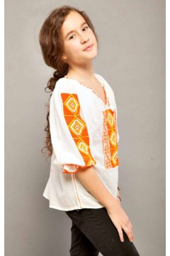 Romanian blouse for little girls - Orange Diamond