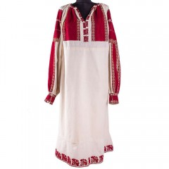Traditional Romanian blouse from Muscel, sewn with golden thread
