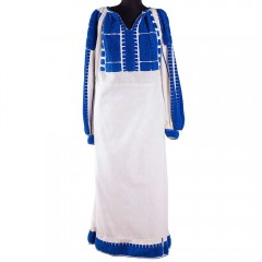 Traditional Romanian blouse from Muscel, embellished with blue thread