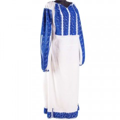 Traditional Romanian blouse from Oltenia, with blue spirals