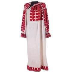 Traditional Romanian blouse from Muscel, with red flowers