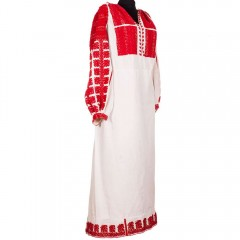 Traditional Romanian blouse from Argeș, with red floral ornaments
