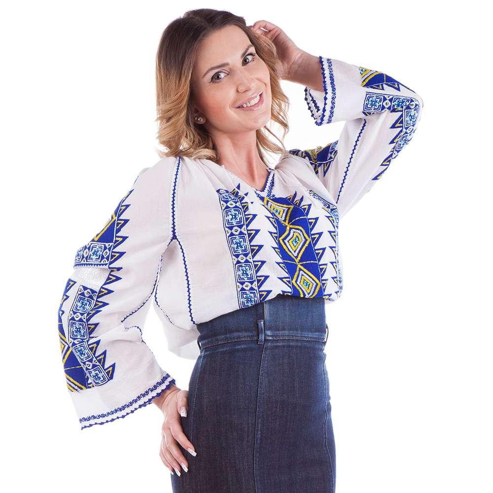 Ie românească Romb - Albastru cu galben