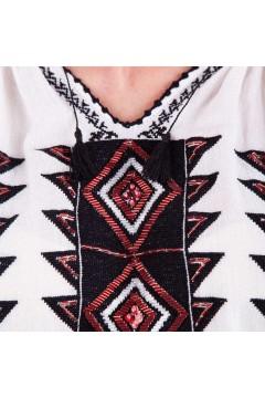 Ie românească Romb - Negru cu roșu închis