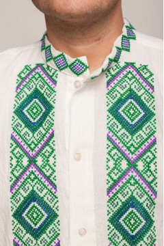 Colorful romanian blouse with popular motifs