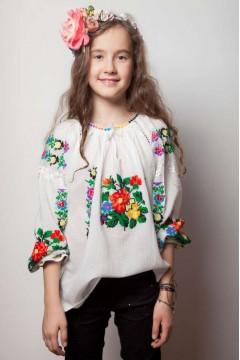 Traditional Romanian Blouse for little girls - Rose Flower