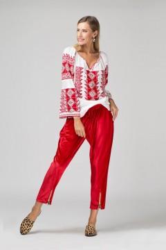 Ie românească Romb - Roșu cu argintiu