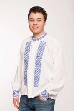 Romanian blouse with popular motifs - blue