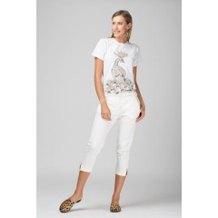 Tricou paun pictat manual - Auriu